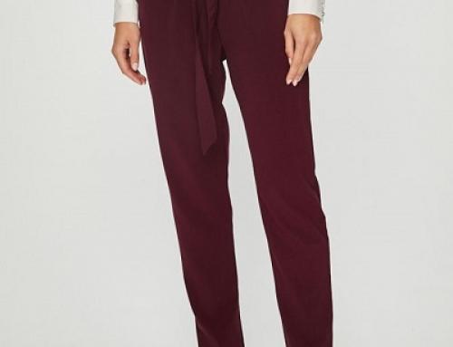 Pantaloni de damă cu talie înaltă și bandă elastică, roșu purpuriu, Only Dakota