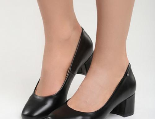 Pantofi de damă office cu toc gros, negri, cu branț din piele Teacher Gracie