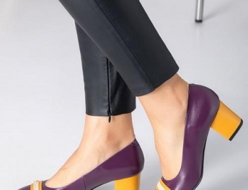 Pantofi damă office mov cu tocuri groase și detaliu cu galben, Ivanka DyF