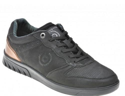 Pantofi casual negri din piele naturală întoarsă pentru bărbați Bugatti West