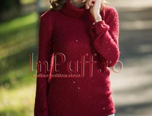 Pulover de damă tricotat bordo, cu guler înalt și paiete transparente Arissa