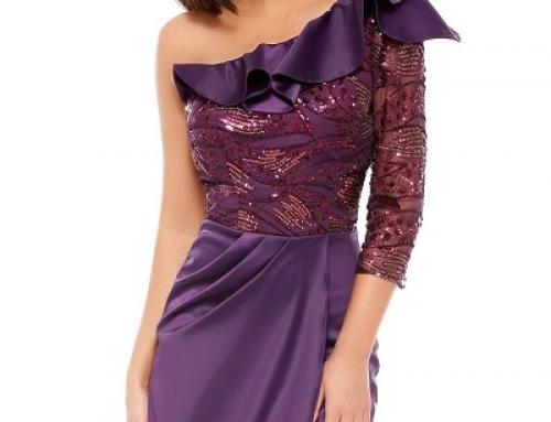 Rochie de seară scurtă din dantelă cu paiete, decolteu asimetric, Elvira Monroe