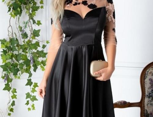 Rochie de seară neagră cu paiete și mâneci din tull transparent, Ginette DyF