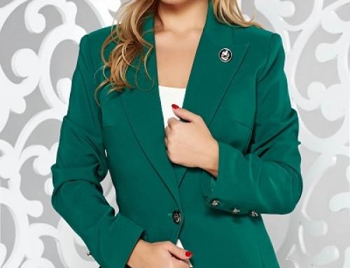 Sacou de damă office verde satinat, cambrat, cu guler cu revere, LaDonna