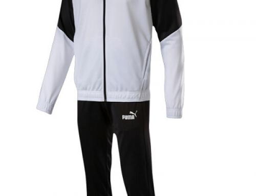 Trening alb/negru cu buzunare și manșete elastice pentru bărbați Puma Iconic