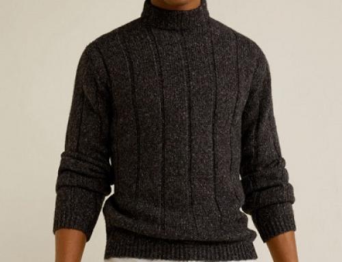 Pulover Mango Malevich tricotat pentru bărbaţi, cu guler ridicat, maro