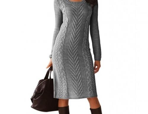 Rochie tricotată Davina stil pulover cu mâneci lungi, cu model torsade