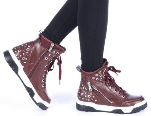 Pantofi sport damă Gracie Amanda înalţi cu detalii metalice, grena