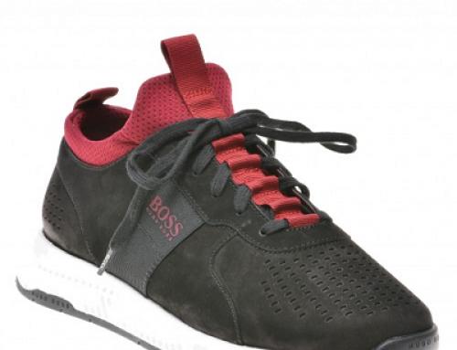 Pantofi sport bărbați HUGO BOSS Leon din piele năbuc, negri