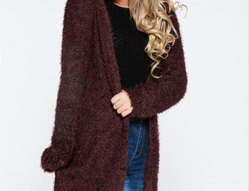 Cardigan damă Top Secret Tiara lung, pufos, tricotat și cu franjuri, vișiniu