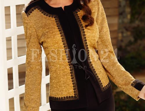 Costum de damă Alexis Noelle elegant cu fustă, galben muştar, cambrat