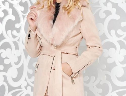 Geacă damă Melanie Holly lungă cu blană și cordon, catifelată, roz