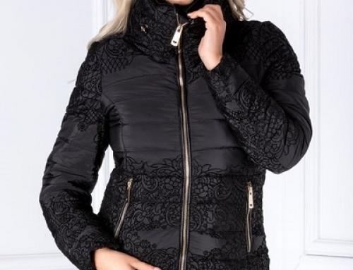 Geacă damă Yasmin Paty cu model floral catifelat, scurtă şi neagră