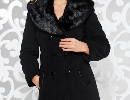 Palton de damă Merlyn Ayla elegant negru cu blană detaşabilă, cu lână