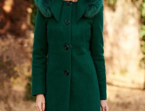 Palton de damă Penelope Lauren verde din lână, gros, cu guler îmblănit