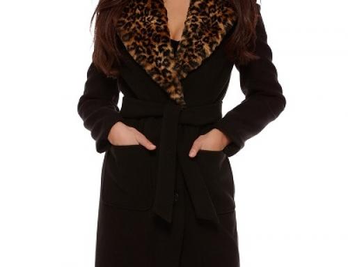 Palton damă Selby Cleopatra elegant cu blană animal print, negru