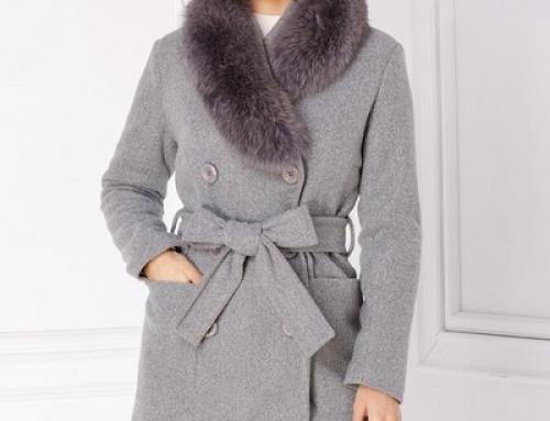 Palton damă LaDonna Octavia elegant din lână cu revere îmblănite, gri