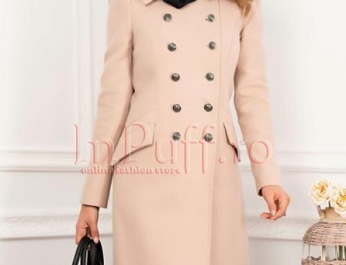 Palton damă Gillian MBG elegant din lână bej somon cu decolteu petrecut