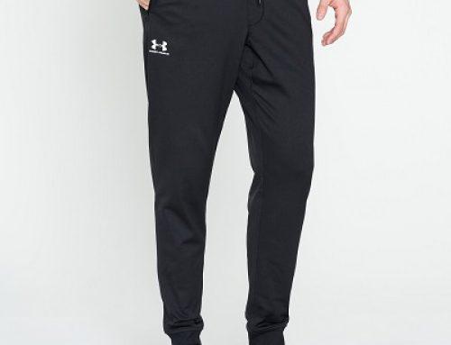 Pantaloni sport bărbați Under Armour Jakob negri cu șnur în talie