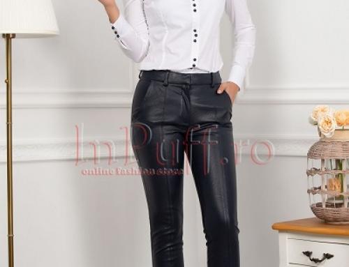 Pantaloni damă Maya MGB din piele ecologică, conici, bleumarin
