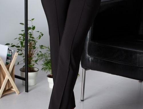 Pantaloni damă office LaDonna Brynn negri, drepți și cu dungă