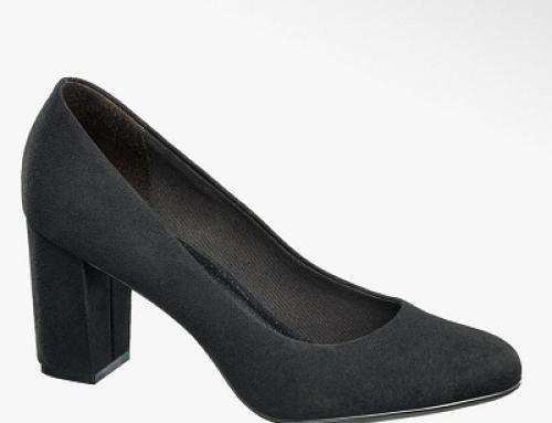 Pantofi damă Jenny Millie cu toc gros, negri, din piele întoarsă eco