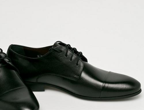 Pantofi office Domeno Clay pentru bărbați din piele naturală, negri