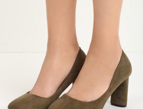 Pantofi de damă Scarlett Jude kaki cu toc gros, din piele întoarsă eco