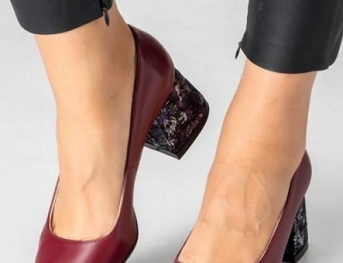Pantofi damă Kathleen grena din piele naturală și cu toc masiv, vârf ascuțit