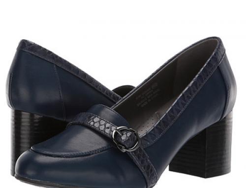 Pantofi damă Aerosoles Domain din piele naturală cu toc gros, bleumarin