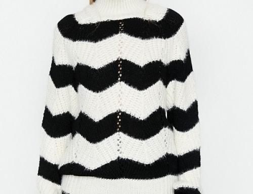 Pulover damă KOTON Penelope tricotat cu dungi şi perforaţii, alb