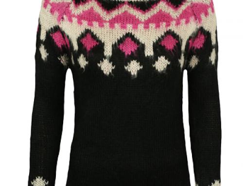 Pulover damă Cache Cache Carmen tricotat negru cu model decorativ