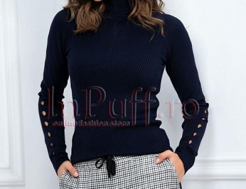 Pulover de damă tip helancă Paris Rayne din tricot subțire, cu decupaje