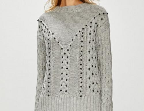 Pulover de damă Medicine Irene tricotat, accesorizat cu perle negre
