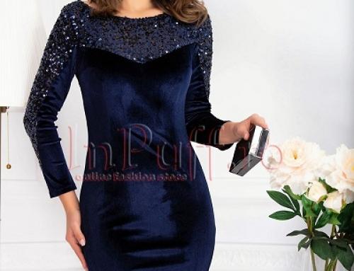 Rochie de seară Jaslene MBG din catifea și cu paiete, conică, bleumarin