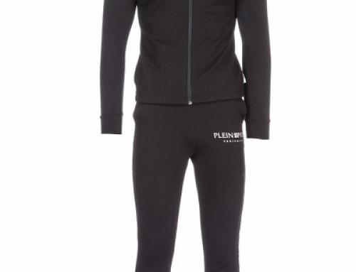 Trening bărbați Plein Sport cu glugă, slim fit, negru, cu bumbac