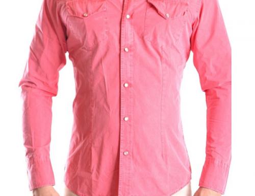 Cămașă din bumbac Daniele Alessandrini pentru bărbați, roz, slim fit