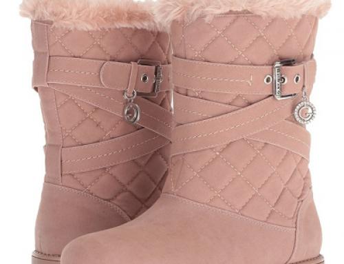 Cizme damă G by GUESS Babez îmblănite și cu talpă plată, roz, impermeabile