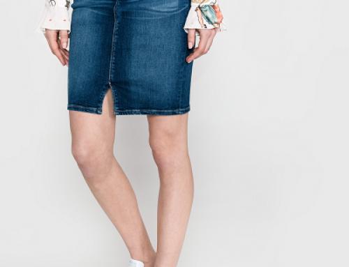 Fustă de blugi Pepe Jeans Taylor casual midi cu buzunare, albastră