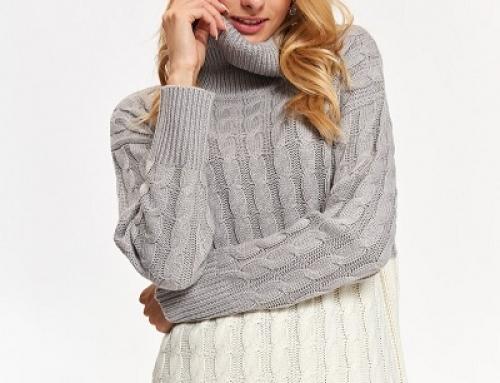 Pulover de damă Top Secret Fleur tricotat pe gât, gri și larg