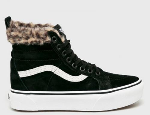 Pantofi sport damă Vans VN0A3T înalți și cu blană din piele întoarsă, negri