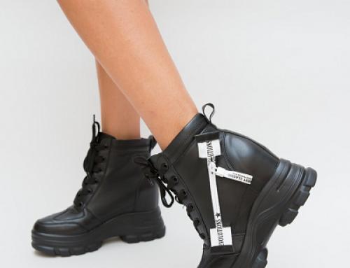 Pantofi sport de damă înalți Rodrigos Barron negri cu platformă