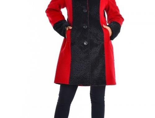 Palton damă Eliana Axelle gros și călduros cu glugă îmblănită, roșu/negru