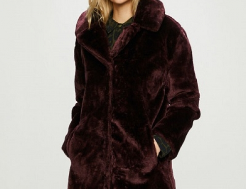 Palton de damă Answear LJKTASMIN din blană sintetică, castaniu