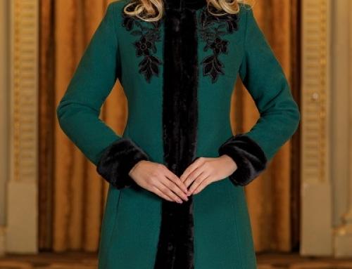 Palton damă Sheena Luxury elegant verde cu broderie și blăniță