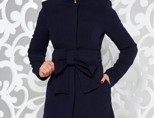 Palton de damă elegant Artista cambrat cu cordon cu fundă în talie