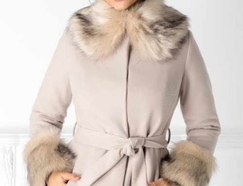Palton damă scurt și cu blană LaDonna Evelyn elegant din lână, bej