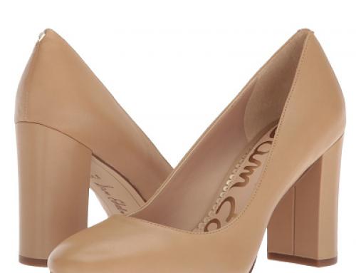 Pantofi damă office Sam Edelman Stillson din piele naturală, Nude, cu toc gros