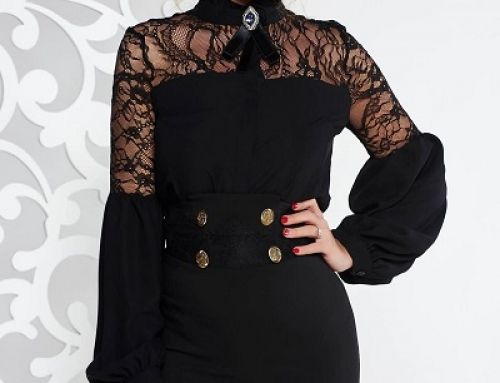 Bluză damă elegantă neagră Fofy MWcW5 cu dantelă și accesorizată cu broșă