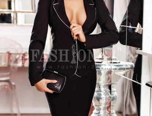 Costum de damă elegant negru Daphne FDEWQ5 cu fustă, cu decolteu